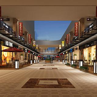 城市商业街步行街3d模型