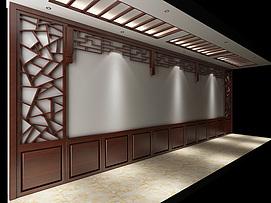 中式走廊木装饰模型