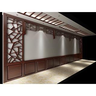 中式走廊木装饰3d模型