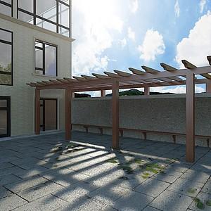 別墅木質廊架模型3d模型