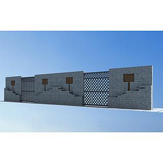 中式景墙3d模型
