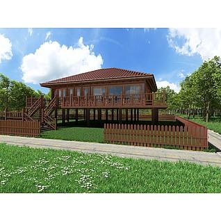 中式木屋别墅3d模型3d模型