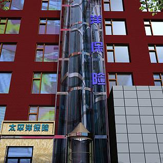 室外景观电梯3d模型