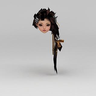 剑网三游戏人物女发型3d模型