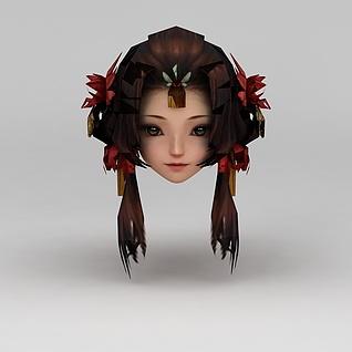 剑网三游戏角色女发型3d模型