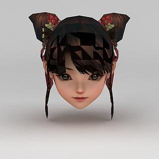 剑网三游戏发型3d模型
