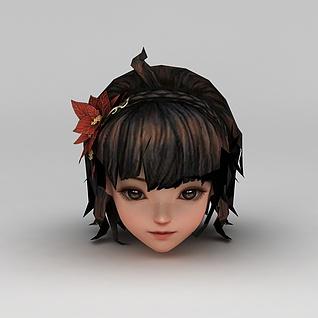 剑网三人物女头部发型3d模型