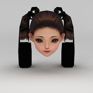 剑网三人物头部发型3d模型