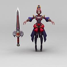 王者荣耀角色美女战士3D模型3d模型