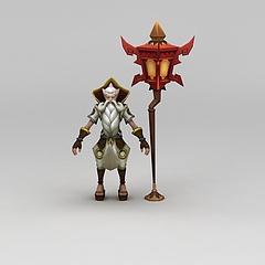 王者荣耀游戏人物动漫角色老人模型3d模型