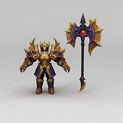 王者荣耀游戏人物动漫角色铠甲战士模型3d模型