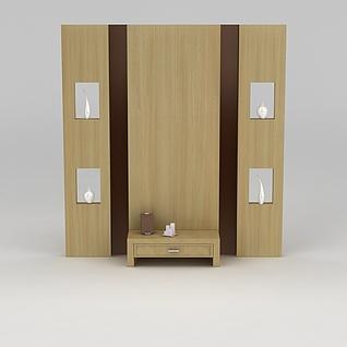 中式客厅电视柜背景墙3d模型3d模型