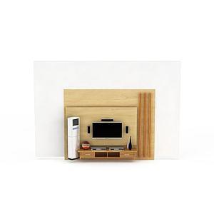 现代实木电视柜模型3d模型