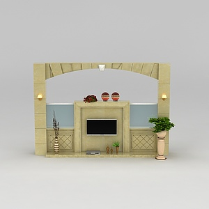 现代电视柜背景墙模型3d模型