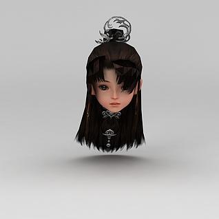 剑网三游戏人物古装发型3d模型