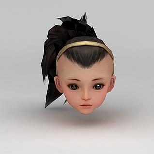 剑网三游戏人物发型发饰3d模型