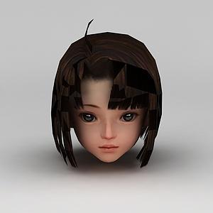 剑网三游戏人物发型发饰小女孩发型模型