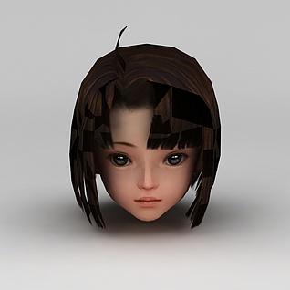 剑网三游戏人物发型发饰小女孩发型3d模型