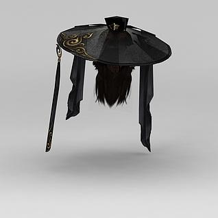 剑网三游戏人物发型古装发饰3d模型