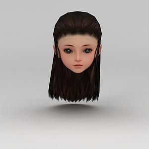 剑网三古装女孩发饰发型模型