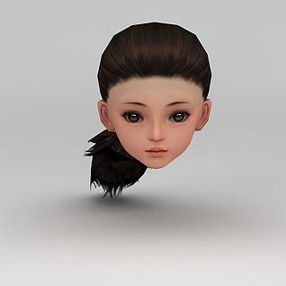 剑网三女孩发饰发型3d模型