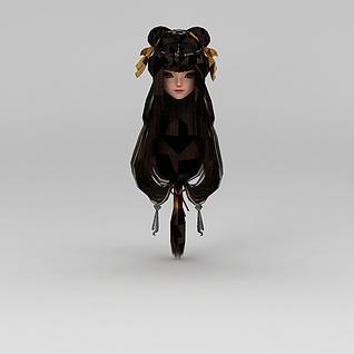 剑网三女子长发3d模型