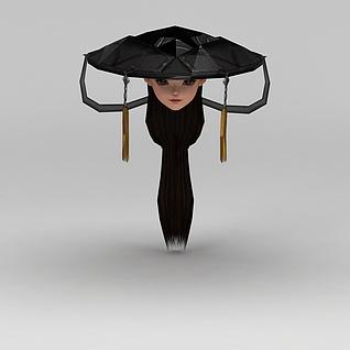 剑网三游戏人物古装发饰发型3d模型