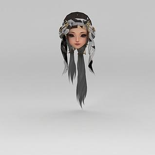 剑网三古装女孩发饰发型3d模型