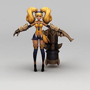 王者榮耀游戲女角色模型3d模型