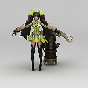 王者榮耀游戲人物長發美少女模型3d模型
