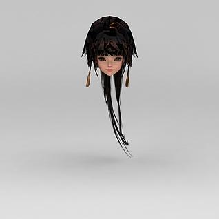 剑网三女子发型3d模型