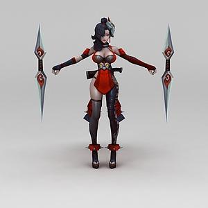王者榮耀游戲人物性感女郎模型3d模型