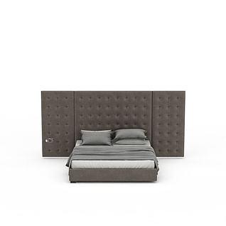 现代软包双人床3d模型3d模型
