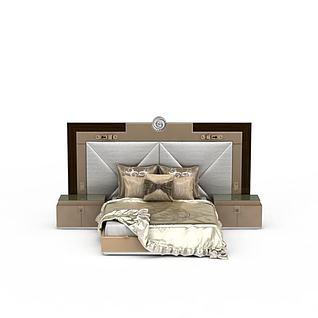 欧式豪华软包双人床3d模型3d模型