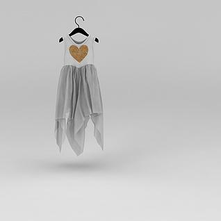 女性时尚百褶连衣裙3d模型