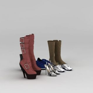 女士高跟鞋运动鞋3d模型