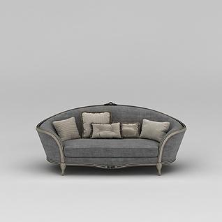 现代灰色布艺沙发3d模型
