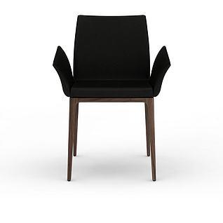 现代黑色休闲椅3d模型