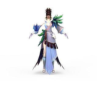 笑傲江湖游戏人物美女古人3d模型