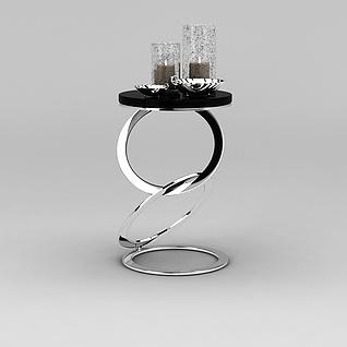 精品创意圆形边几3d模型