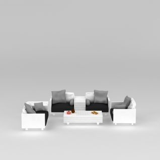 现代白色沙发茶几组合3d模型