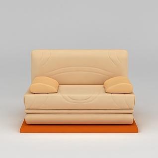 现代真皮单人沙发3d模型