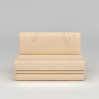 现代皮质米色双人沙发3d模型