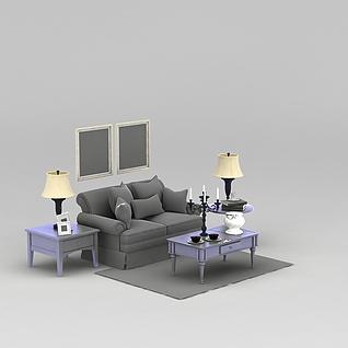 现代沙发茶几整体家具3d模型