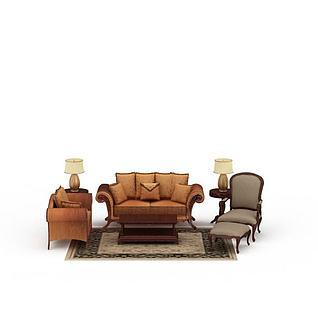 欧式贵妃椅沙发茶几3d模型