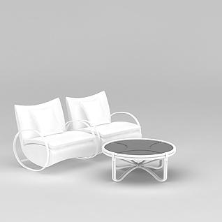 白色铁艺沙发茶几组合3d模型