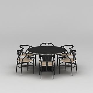 圆形大餐桌餐椅组合3d模型3d模型