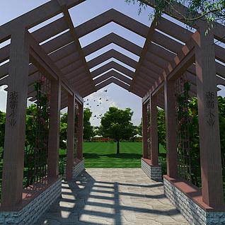 户外休闲木质廊架3d模型