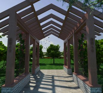 户外休闲木质廊架