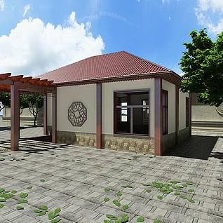 休闲茶室廊架3d模型